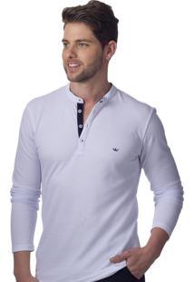 Camisa Gola Padre Alfaiataria Burguesia Branca Stil Slim Fit