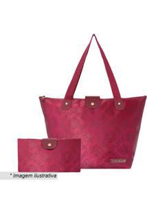 Bolsa Dobrável Arabescos- Bordô- 30X47X18,5Cm- Jjacki Design
