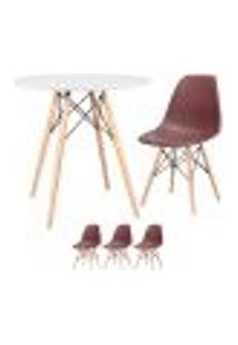 Conjunto De Mesa Eames 80 Cm Branco + 3 Cadeiras Eames Eiffel Dsw Marrom