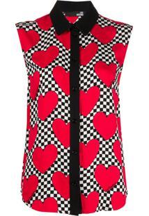 Love Moschino Blusa Com Estampa De Coração - Vermelho