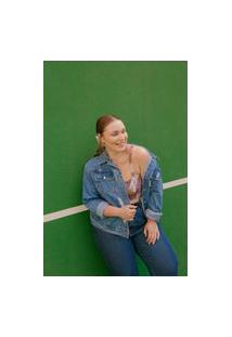 Jaqueta Almaria Plus Size Tal Qual Jeans Com Bolso Azul