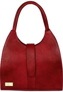 Bolsa Em Couro Com Tag- Vermelha- 33X31X13Cm- Didi Marlys