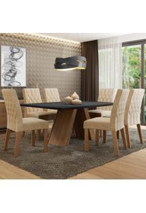 Conjunto Sala De Jantar Madesa Giovana Mesa Tampo De Madeira Com 6 Cadeiras Marrom - Tricae