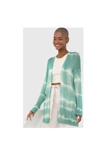 Maxi Cardigan Tricot Dress To Tie Dye Verde