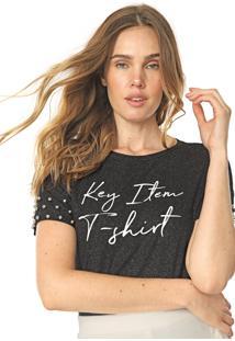Camiseta Lunender Glitter Tachas Preta - Preto - Feminino - Viscose - Dafiti
