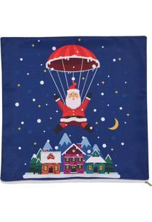 Capa Para Almofada Natal- Azul & Vermelha- 45X45Cm