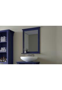 Espelho Simples Para Banheiro Em Madeira Mission - Espelheira Simples Para Lavabo Cor Azul Escuro - 53X10X73Cm