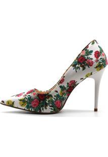 Scarpin Royalz Tecido Penélope Roses Branco