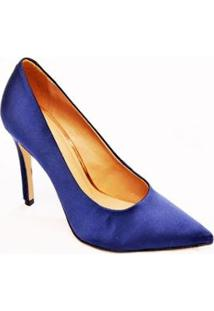 Sapato Scarpin Veludo Casual Christian Fischer Feminino - Feminino-Marinho