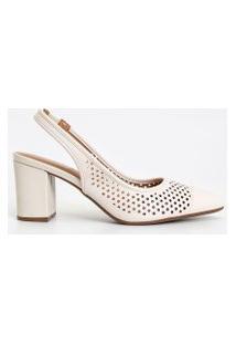 Sapato Feminino Chanel Com Bolinhas Vazada Vizzano | Vizzano | Branco | 38