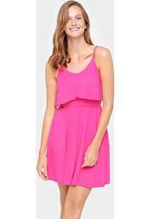 Vestido La Gata Alça Com Babado Sobreposto - Feminino-Pink