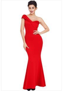 Vestido Longo Elegante Assimétrico Ombro Único - Vermelho P
