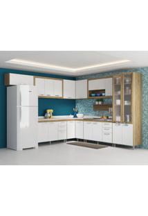 Cozinha Compacta Gualeguaychú 18 Pt 6 Gv Com Porta De Vidro Argila E Branco
