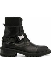 Via Roma 15 Ankle Boot Com Fivela - Preto