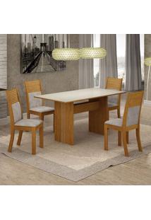 Conjunto De Mesa De Jantar Florença Ii Com 4 Cadeiras Havaí Suede Off White E Cinza