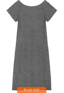 Vestido Midi Ribana Canelada Cinza