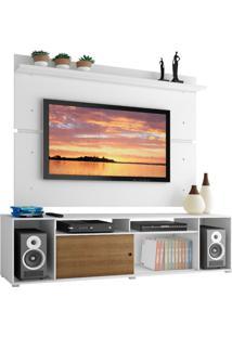 Rack Madesa Cancun E Painel Para Tv Até 65 Polegadas - Branco/Rustic/Branco