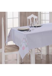 Toalha De Mesa Dália Tergal Verão Branca Pink 1,40M