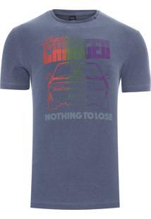 Camiseta Masculina Flamê Carro - Azul Marinho