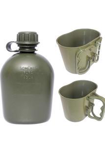 Kit Cantil E Caneco Para Camping Em Polipropileno Padrão Eb Verde - Atacado Militar