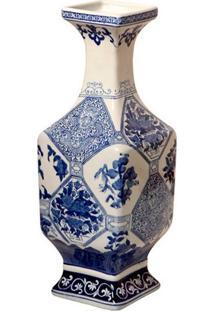 Vaso Decorativo De Porcelana Azul E Branco