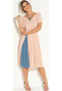 Vestido Midi Rosa E Azul Com Recorte