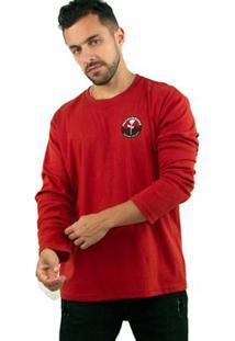Camiseta Big Shirt Osklen Selo Skateboarding Masculina - Masculino-Vermelho