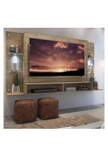 "Painel Tv 60"" C/ 2 Leds E Prateleiras De Vidro Vegas Multimóveis Rustic"