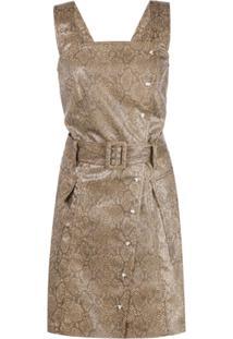 Nanushka Vestido Com Cinto E Efeito Pele De Cobra - Marrom