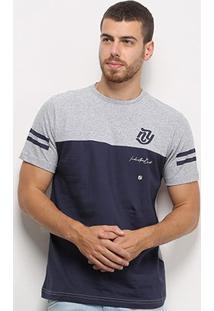 Camiseta Industrie Básica Especial Bicolor Masculina - Masculino-Cinza