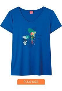 Blusa Azul Tropical Com Glitter