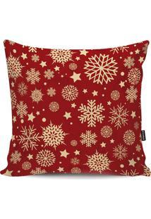 Capa Para Almofada Flocos De Neve- Vermelha & Dourada