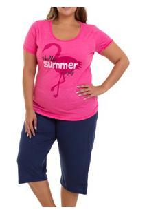 Pijama Capri Flamingo Doce Luar (5023N) Plus Size - 100% Algodão