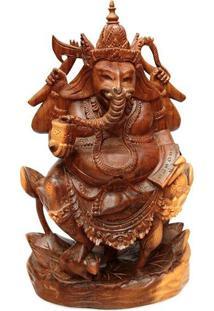 Escultura Ganesh Entalhado Madeira