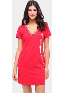 Vestido Coca Cola Curto Básico - Feminino-Vermelho