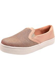 Sapatenis Uzze Sapatos Slip On Nude Com Glitter
