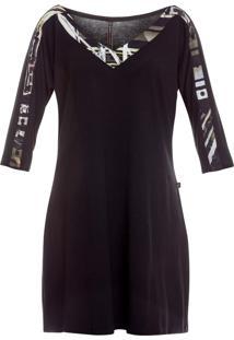 Vestido Canellado Curto Com Detalhes Na Manga Preto