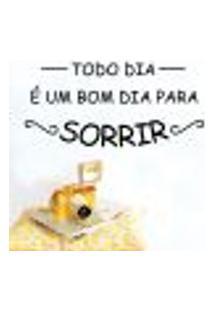 Adesivo De Parede Frase Bom Dia Para Sorrir - G 60X127Cm