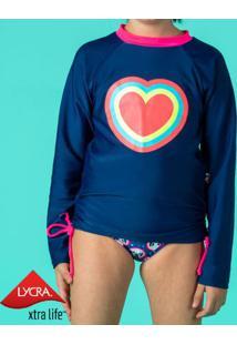 Blusa Coração - Azul Marinho & Rosapuket