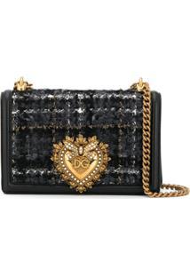 Dolce & Gabbana Bolsa Transversal Devotion De Tweed - Preto