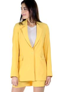 Blazer Bã¡Sico Alongado Liso - Amarelo - Feminino - Dafiti