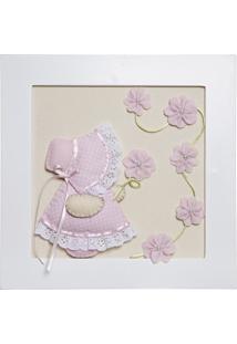 Quadro Decorativo Camponesa Flores Bebê Infantil Potinho De Mel Rosa