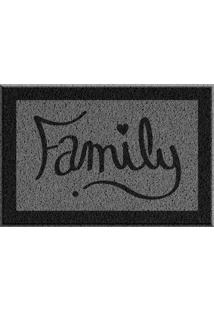 Capacho De Vinil Family Cinza Único Love Decor