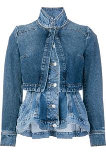 Alexander Mcqueen Jaqueta Jeans Com Sobreposição - Azul