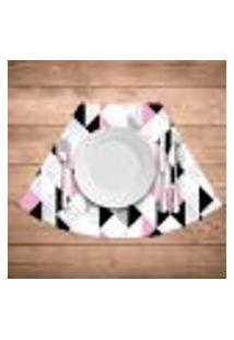 Jogo Americano Para Mesa Redonda Wevans Triângulos Rosa Kit Com 6 Pçs