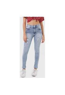 Calça Jeans Biotipo Skinny Destroyed Azul