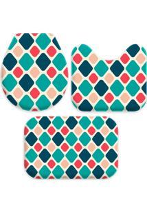 Jogo Tapetes Love Decor Para Banheiro Geométrico Multicolorido Único - Kanui