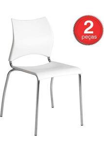 Cadeira-357 -Cromada-02 Unidades-Branca-Carraro