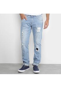 Calça Jeans Slim Zamany Delave Ragados Patch Masculina - Masculino-Azul Claro