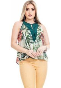 Blusa Clara Arruda Prega Decote Feminino - Feminino-Verde
